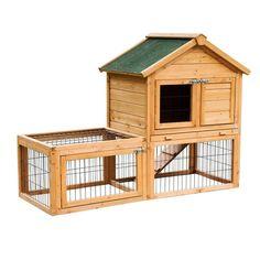 "52"" Wooden Rabbit Hutch Bunny Guinea Pig Pet Wood House Small Animal Habitat Run"