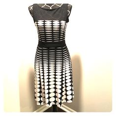 Stunning Black and White Dress Stunning black and white dress. Sheer black top. Zipper is gold. Flows beautifully. Very flattering and looks great on! Only worn once. In excellent condition! Roz & Ali Dresses Midi