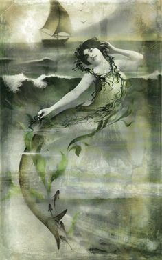 Vintage French Mermaid Photo Woman Digital Download by LEXIBAGS, $4.00