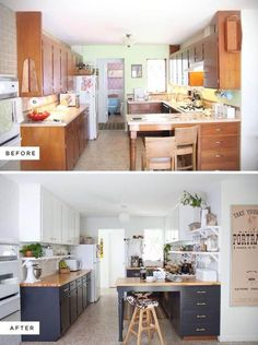 Eclectic Kitchen Renovation-before and after. Dark base cabinets and white upper… Eclectic Kitchen Renovation-before and after. Dark base cabinets and white uppers. Eclectic Kitchen, Kitchen Remodel, Home Decor, New Kitchen, Kitchen Redo, Home Kitchens, Diy Kitchen, Kitchen Renovation, Kitchen Design