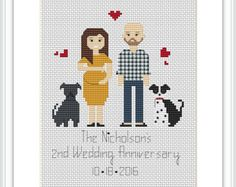 3 characters Custom family PDF Cross Stitch Pattern by Xrestyk