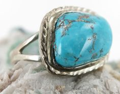 Morenci Turquoise Ring in Sterling Silver Size 8 by SilverSpiral1