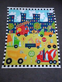 Construction fabric panel. Digger fabric. Vehicles quilt