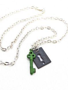 Lock and Key Necklace,  $33.50, via Etsy.