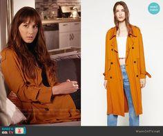Spencer's orange trench coat on Pretty Little Liars.  Outfit Details: https://wornontv.net/58475/ #PLL  Buy it here: http://wornon.tv/36809