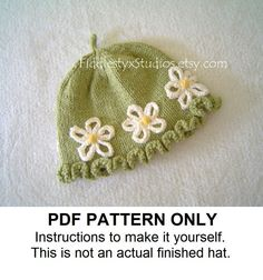 PDF KNITTING PATTERN - Baby Girl Hat Knitting Pattern - Daisy Cloche (Newborn Infant Toddler Child sizes) Children Spring Knitting Pattern. $5.50, via Etsy.
