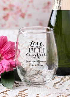 Send your wedding guests home with a personalized 9 oz. stemless wineglass. Cheers to love laughter and happily ever after!
