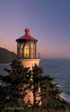 Heceta Head Light is a lighthouse located on the Oregon Coast 13 miles north of Florence, Oregon and 13 miles south of Yachats, Oregon, United States. It is located at Heceta Head Lighthouse State Scenic Viewpoint midway up a 205-foot tall headland.