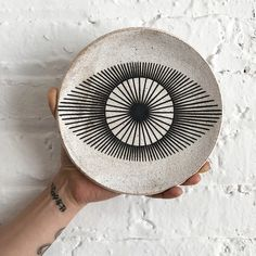 Dish Large: New Eye Round stoneware dish is hand painted with New EyeMeasures approximately dish is NOT food safeHandmade in NYC Ceramic Clay, Ceramic Painting, Ceramic Bowls, Ceramic Pottery, Pottery Art, Pottery Studio, Slab Pottery, Porcelain Ceramics, Pottery Painting Designs