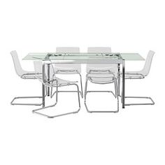 IKEA - GLIVARP / TOBIAS, Table and 6 chairs, The glass table top lets light through, which makes the table feel small and blend in, even when space is limited.A table top in tempered glass is stain resistant and easy to keep clean.The table is easy for one person to pull out alone and adjust for 4-5 people, according to need.You sit comfortably thanks to the restful flexibility of the seat and back.