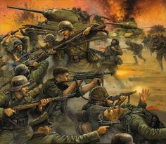 The Battle of Kursk, hand-to-hand fighting. Kursk siries Let them drown in the blood! Military Diorama, Military Art, Military History, German Soldiers Ww2, German Army, Military Drawings, Army Wallpaper, Photo Wallpaper, Ww2 Pictures