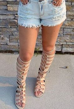 Lace-Up Tall Gladiator Sandals