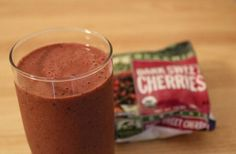 Best chocolate cherry smoothie  -  4-6 ice cubes, 1/2 cup dark sweet frozen cherries, 2 Tbs stevia in the raw, 1 Tbs cocoa, 1 Tbs vanilla protein powder, 1 tsp no sugar added raspberry preserves, 1 cup chocolate almond milk, and about 3 drops of vanilla.  Blend well and enjoy!  Just crunched the numbers:  275 calories, 3 grams of fat, 5 grams of fiber.  This is officially my new favorite thing ❤