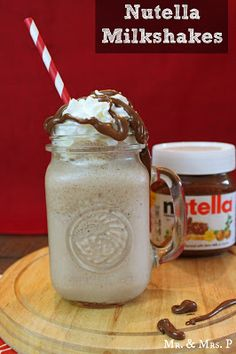 3 cups of vanilla ice cream 1/4 cup of Nutella 1/2 cup of milk Whipped cream Nutella for drizzling