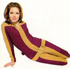 Diana Rigg - The Avengers - 1960s TV show. i remember her wearing this outfit on the show.. she had great outfits on her show..