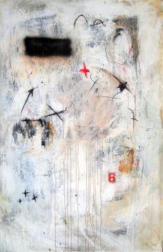 "Alfredo Scaroina  Composicion #017  2012  Acrylic, charcoal, black gesso, Synthetic Polymer, archival newsprint on canvas  55"" x 35"""