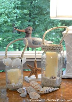 DIY Beachy Candle Lanterns for Spring & Summer
