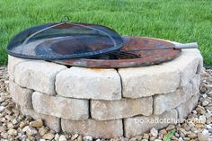 DIY Stone Fire Pit. (Note: Add stones instead of concrete slab)