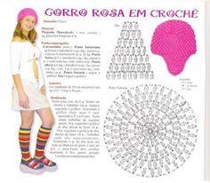 """"""" MOSSITA BELLA PATRONES Y GRÁFICOS CROCHET """": Gorro Rosa en Crochet, Punto Puff"""