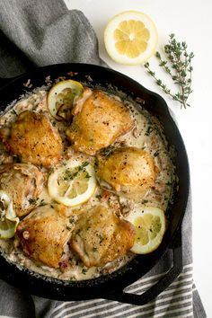 Crispy Chicken Thighs with Chanterelles and Cream Sauce