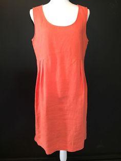 afb70bae4f J. Jill Dress Sheath Orange Sleeveless 100% Linen Size Medium  JJill  Sheath