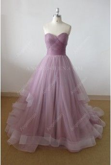Gorgeous Grape A-Line Lace Tulle Pleated Sweep Train Long Evening Dress