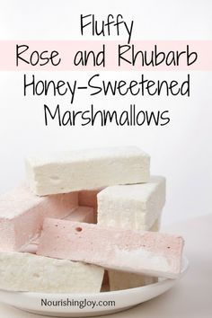Fluffy Rose & Rhubarb Honey-Sweetened Marshmallows - Nourishing Joy
