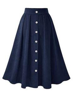 Casual Pleated Skirt 2018 Fall Winter A Line Button Retro Elastic Wasit Midi Calf Skirts Dark Blue Dark Jupe Saia Dark Modest Clothing, Modest Fashion, Hijab Fashion, Fashion Dresses, Women's Fashion, Mode Outfits, Skirt Outfits, Dress Skirt, Midi Skirt