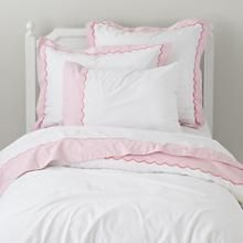 The Land of Nod | Girls Bedding: Pink Scalloped Bedding Set in Girl Bedding