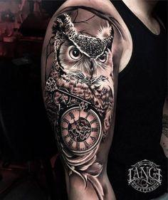 Arm Tattoos Clock, Time Clock Tattoo, Owl Forearm Tattoo, Clock Tattoo Sleeve, Owl Eye Tattoo, Owl Tattoo Drawings, Wolf Tattoo Sleeve, Tribal Arm Tattoos, Tattoo Sleeve Designs