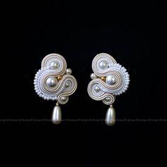 Romantic Bridal Soutache Earrings Ellegant Wedding Pearl