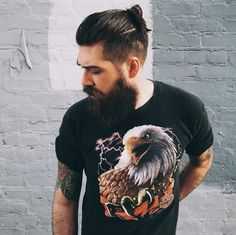 Lane Toran - full thick bushy dark beard mustache beards bearded man men mens' style manbun bun tattoos tattooed handsome bearding #beardsforever