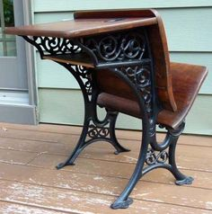 Antique wood and cast iron child's school desk