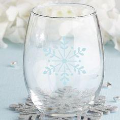 Kate Aspen Snowflake 15 Oz. Stemless Wine Glass