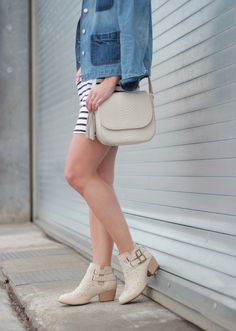 Striped dress, denim jacket and ivory ankle boots