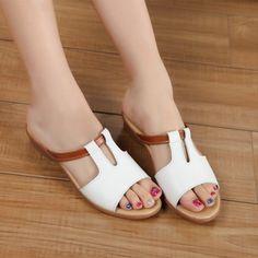 80bcdecf5ff Tienda Online 2016 Mujeres de La Manera Zapatos de Cuero Genuino Sandalias  planas de los Deslizadores