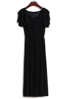 Black Pleated Falbala Belt Split Sleeve Chiffon Dress