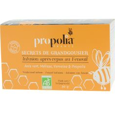 D'une saveur douce et discrète, les plantes (Fenouil, Mélisse, Verveine) et la #Propolis de cette #infusion #Bio vous aideront à finir votre repas sur une note plus légère !