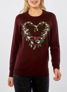 218f710c76 Burgundy Sequin Wreath Jumper - New In- Dorothy Perkins United States  Slogan Tee