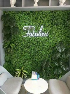 """green grassmat for green hedge wall. Very versatile decoration with many uses, artificial grass attached to a bendable plastic frame. Size:16"""" wide and 24"""" long Beauty Salon Interior, Salon Interior Design, Interior Office, Flower Wall Backdrop, Wall Backdrops, Flower Wall Decor, Flower Wall Design, Stage Backdrops, Backdrop Decor"""