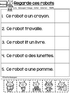 LECTURE FACILE (Découpe et colle) Niveau 2 -... by Yvette Rossignol | Teachers Pay Teachers French Language Lessons, Spanish Language Learning, French Lessons, Spanish Lessons, Preschool Worksheets, 1st Grade Worksheets, Teaching French Immersion, Teaching Kindergarten, Teaching Reading