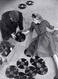 "vinylespassion: ""Martin Munkacsi - Man and woman with records, """