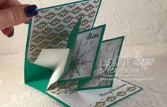 Debbie's Designs: New Video, Twist Pop Up Card Fold using Stampin' Up! Star Of Light, Starlight Thinlits Dies and Candy Cane Lane DSP. Debbie Henderson. #stampinup #staroflight #twistpopupcardfold