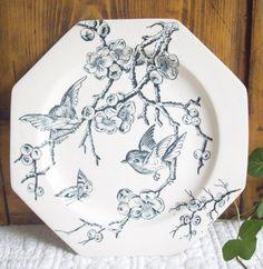 Rare assiette Creil-montereau décor hirondelle 1841-1895