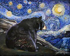 "Whimsical Black Bear Artwork - x Original Oil Painting - ""Beary Starry Night"" Bear Paintings, Van Gogh Paintings, Starry Night Art, Starry Nights, Art And Illustration, Art D'ours, Lion Print, Bear Art, Wildlife Art"