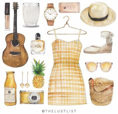 Summer dreams ☀ _ drawing by The Lust List on We Heart It Fashion Design Drawings, Fashion Sketches, Danielle Victoria, Dream Drawing, Fashion Drawing Dresses, Arte Sketchbook, Journal Stickers, Watercolor Fashion, Drawing Clothes