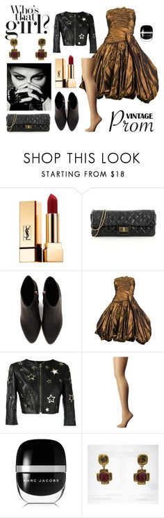 """80s Black & Gold Prom Outfit"" by aquiris ❤ liked on Polyvore featuring Yves Saint Laurent, Chanel, Alexander Wang, Jean-Louis Scherrer, Philipp Plein, Wolford, Marc Jacobs and Jacky de G"