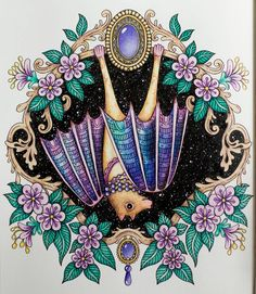 First from Sommarnatt done :-) #sommarnatt #hannakarlzon #coloring #coloringbook #adultcoloringbook #adultcoloring #pencils #fabercastell #polychromos #bat by @zuzka.hanova
