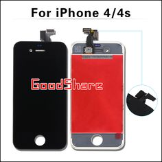 Competitivo aaa para el iphone 4/4s pantalla lcd táctil digitalizador asamblea de pantalla para iphone4 marco pantalla de reemplazo negro/blanco