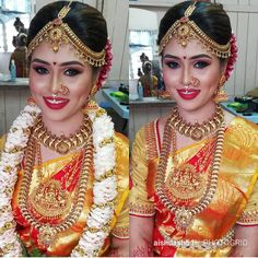 We spotted bunch of south indian brides who totally nailed their wedding look be it because of their bridal saree, jewelery or the traditional south Indian bridal makeup and hairstyle. Indian Bridal Fashion, Indian Bridal Makeup, South Indian Weddings, South Indian Bride, Wedding Looks, Wedding Bride, Wedding Makeup, Kerala Bride, Indian Wedding Hairstyles